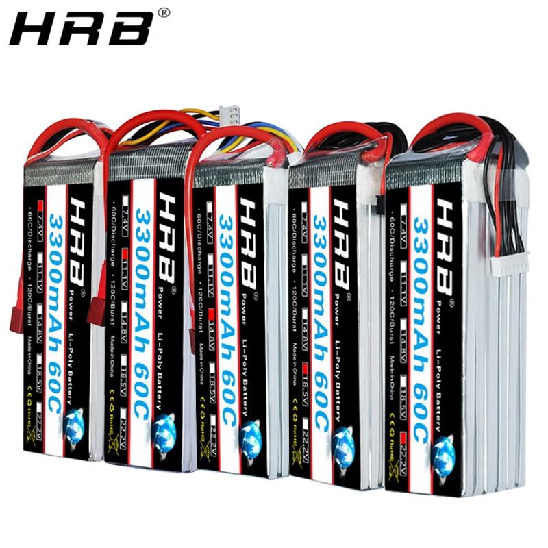 HRB 2S 7.4V 11.1V Lipo Battery 3300mah T Deans 60C XT60 3S 3.7V RC Quadcopter FPV Airplane Car Parts 14.8V 18.5V 22.2V 4S 5S 6S(China)
