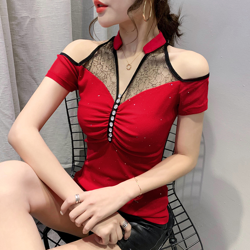 2020 Summer New slim sexy mesh tops Fashion diamond Korean Mesh T-Shirt Elegant slim Sexy women tops and shirt
