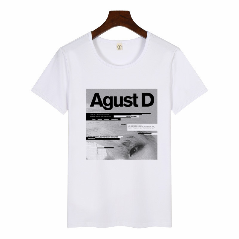 2019 Women Funny Art Print T-Shirt Harajuku Tshirts Female Agust D T-shirt Summer Graphic Tees Women Tops