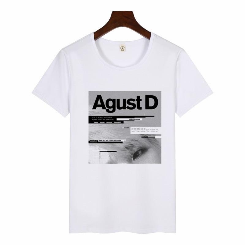 2019 Women Funny Art Print T-Shirt Harajuku Tshirts Female Agust D T-shirt Summer Graphic Tees Women Tops