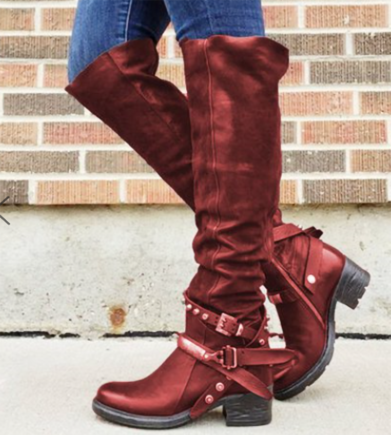 Litthing Women Boots Low Heels Knee Boots Buckle Shoes Vintage PU Leather Booties Rivets Buckle Woman Mujer Zapatos Botas Mujer