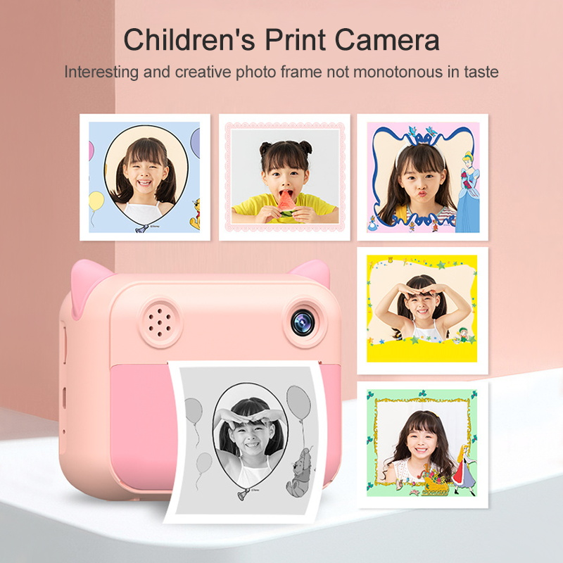 Children Instant Print Camera 2.4inch 1080P Digital Kids Camera with 5 Rolls Thermal Photo Paper 32GB TF Card Kids Birthday Gift