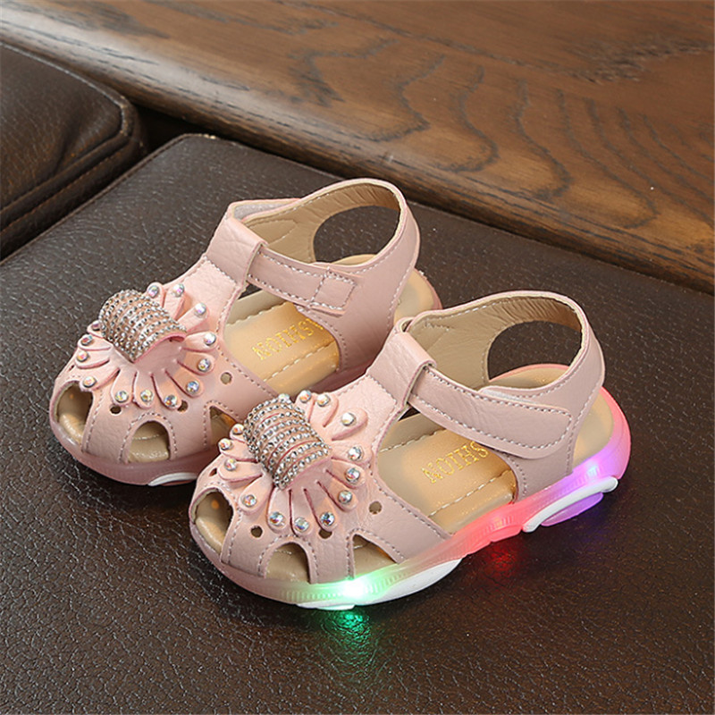 Baby Girls Shoes With Light Summer Toddler Sandals For Girls Kids Led Light Up Beach Sandals Shoes For Girl Size 21-30