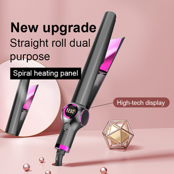 Dropshipping Professional straightening irons hair flat iron electric corrugation curling iron with grove and hair band