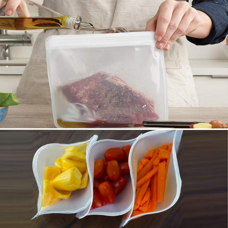 PEVA Silicone Food Storage Container Reusable Stand Up Zip Shut Bag Cup Reusable Fruit Meat Milk Fresh Bag Kitchen Organizer