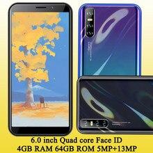 6.0 polegada 8c android face id 4gram 64grom quad core desbloqueado versão global smartphones 13mp telefones celulares originais celulares telefone