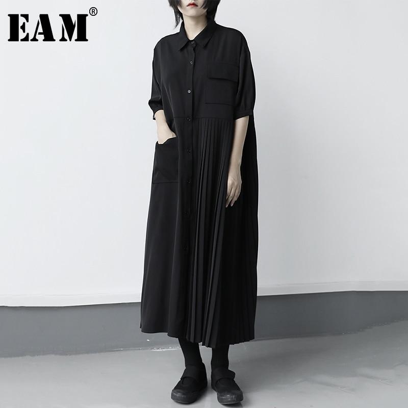 [EAM] Women Black Pleated Split Big Size Long Shirt Dress New Lapel Half Sleeve Loose Fit Fashion Tide Spring Summer 2020 1X316