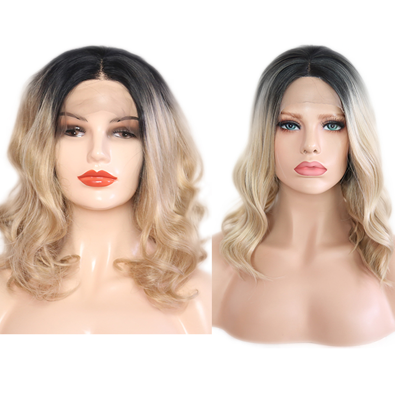 RONGDUOYI Ombre Blonde Bob Hair Middle Part Synthetic Lace Front Wig for Women Loose Wave Short Wigs Hair Heat Natural Hairline