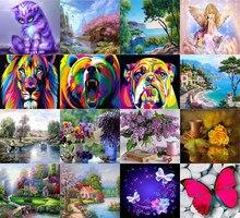 Decoración del hogar Mosaico de diamantes de imitación Hecho a mano Diamante redondo Paisaje humano Animal Mosaico 5D