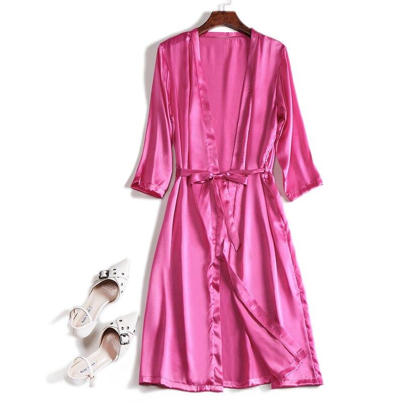 100% de seda auentica para mujer, tunicas de saten de seda, longitud hasta la rodilla, ropa de dormir, camison, Kimono