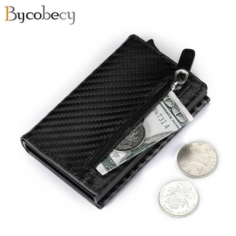 Bycobecy 2020 New RFID Smart Wallet Credit Card Holder Metal Thin Slim Men Wallets Pop Up Minimalist Wallet Small Coin Purse