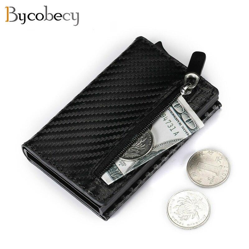 Bycobecy carteira inteligente de metal, nova carteira masculina pequena e compacta feita em metal de 2020, com compartimento para cartões de crédito, minimalista bolsa de mão