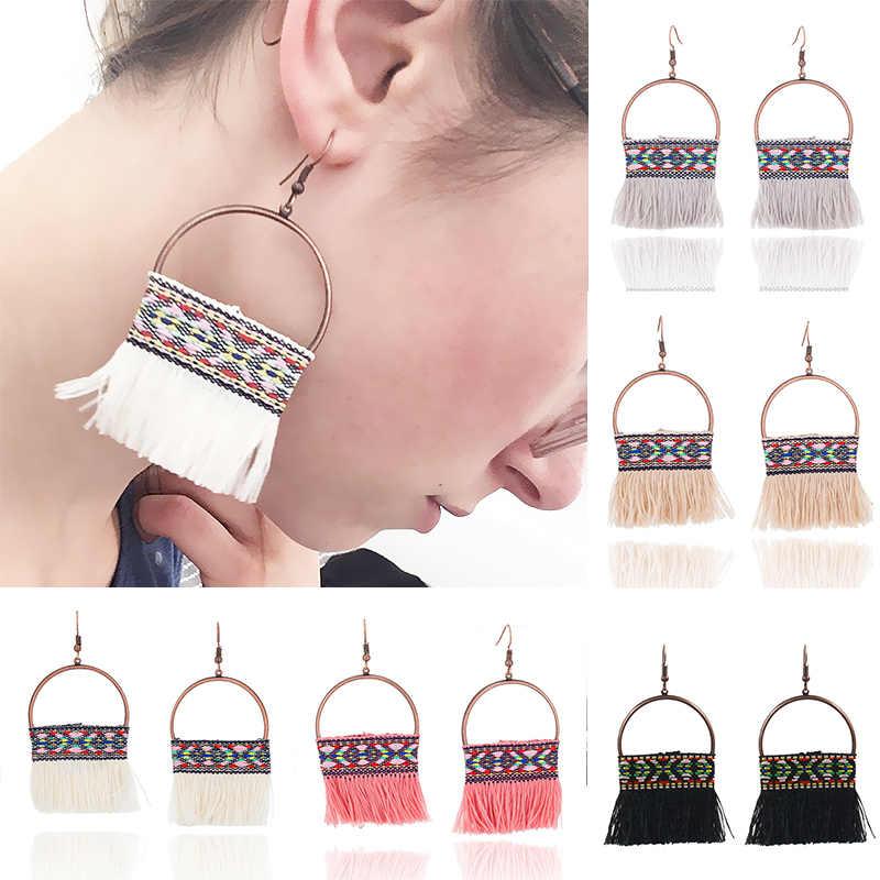 Bohemian fan-shaped tassel earrings fashion beige beaded handmade long colorful geometric earrings women girls crystal jewelry
