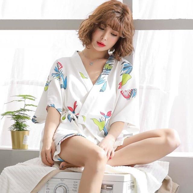 Simple Style Women Pajamas Set Japanese Kimono Style Summer New Sleepwear 2Pcs Set Comfort Simple Ladies Homewear Casual Wear