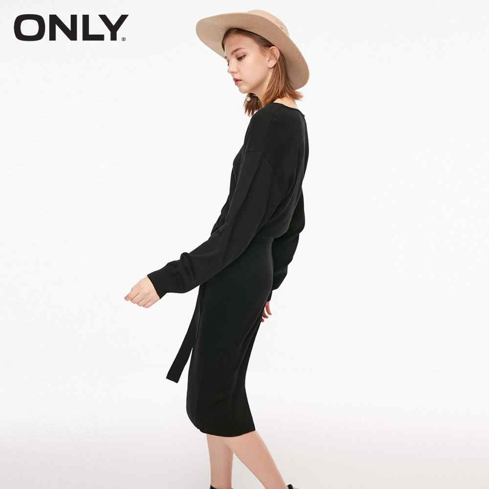 ONLY Autumn V-neckline Hip-wrap Knitted Pullover Dress  | 118346522