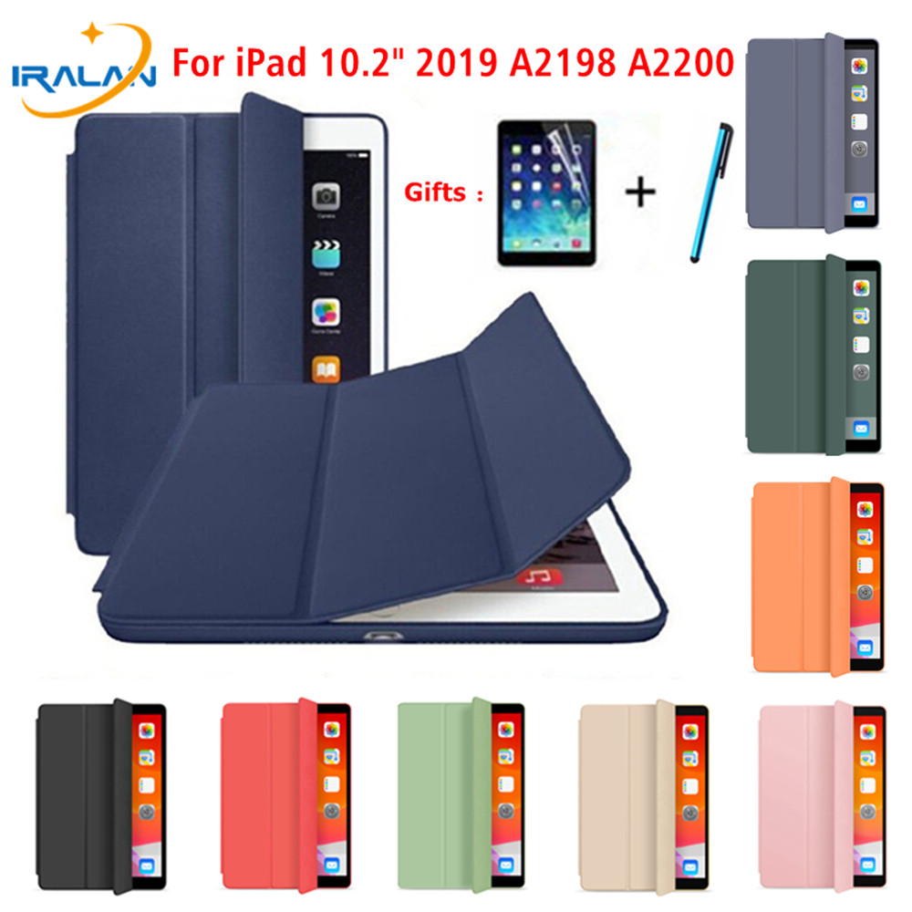 Original Magnetic Smart Case For IPad 7th Generation Leather Lightweight Stand Cover Funda For IPad 10.2 2019 Case+Film+Stylus