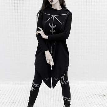 цены Women Gothic Big Hat Coat Loose Trench Jacket Diagonal Zipper Moon Printed Personality Irregular Hem Punk Long Hooded Coat