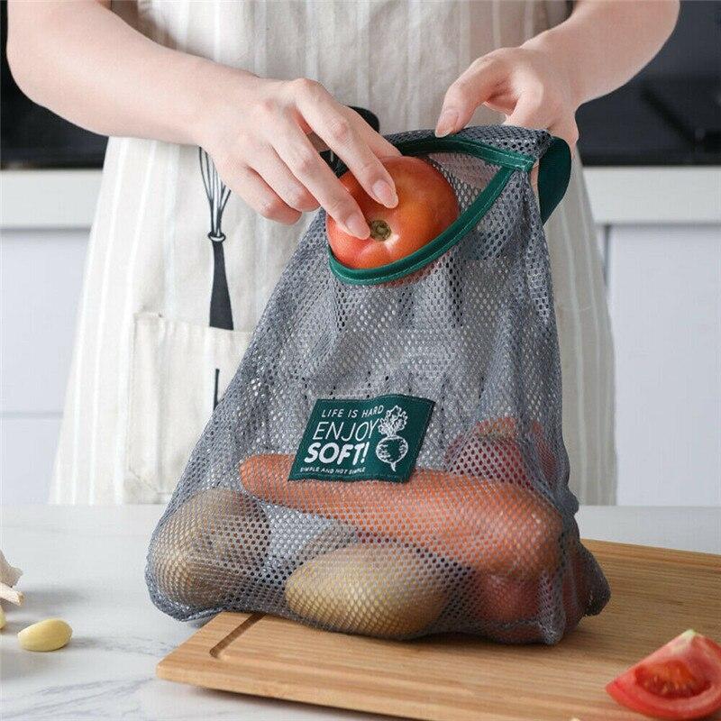 Reusable Fruit Vegetables Bags New Shopping Draw-string Grocery Shopper Mesh Tote Fashion Mesh Woven Kitchen Fruit Storage Bag