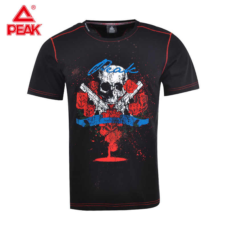Peak Mannen Zomer Outdoor Sport Korte Mouwen T-shirt Casual Sportswear Cool Zwart Multi-color Multi-Foto t-shirt