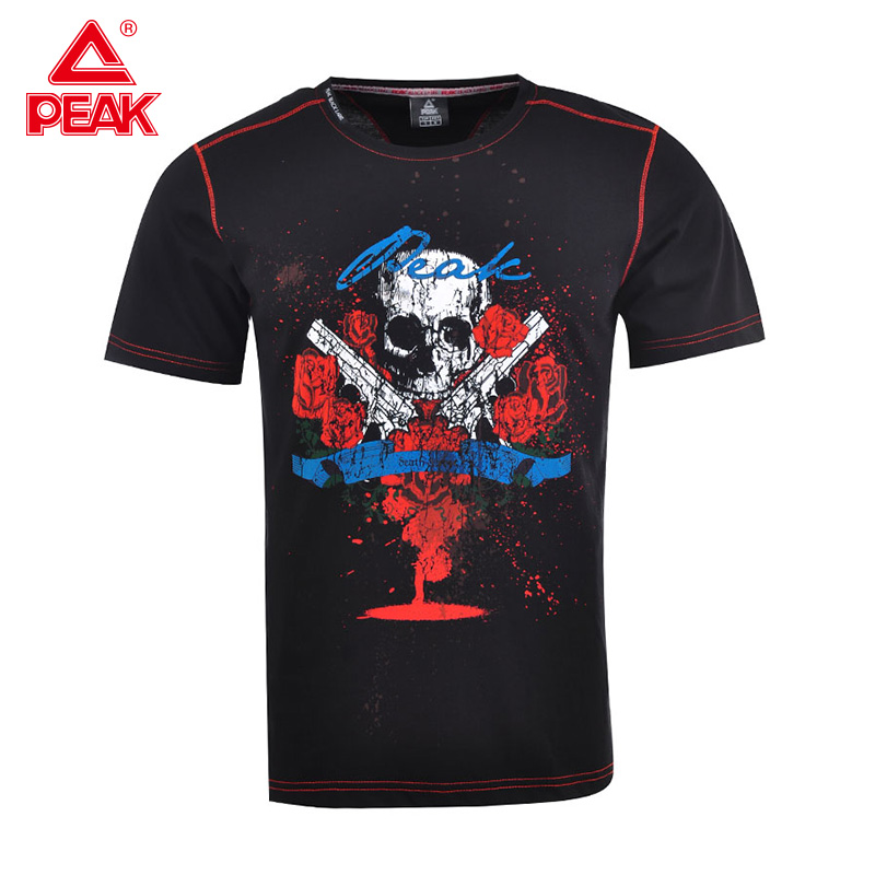 PEAK Men's Summer Outdoor Sports Short-sleeved T-shirt Casual Sportswear Cool Black Multi-color Multi-picture T-shirt