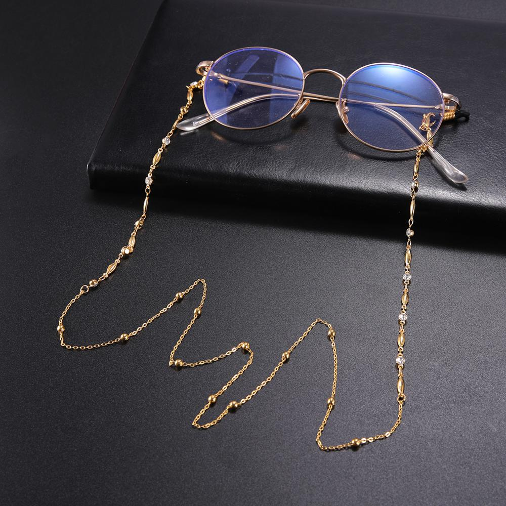 SKYRIM White Crystal Beaded Sunglasses Chain Women Gold Color Lanyard Strap Necklace Anti-slip Eyeglass Cord Rope For Glasses