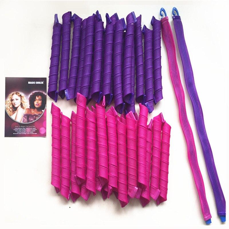 40 шт./упак. 55 см Волшебные бигуди спиральные кудри для укладки волос комплект без тепла бигуди для волос для длинных волос большинства видов ...
