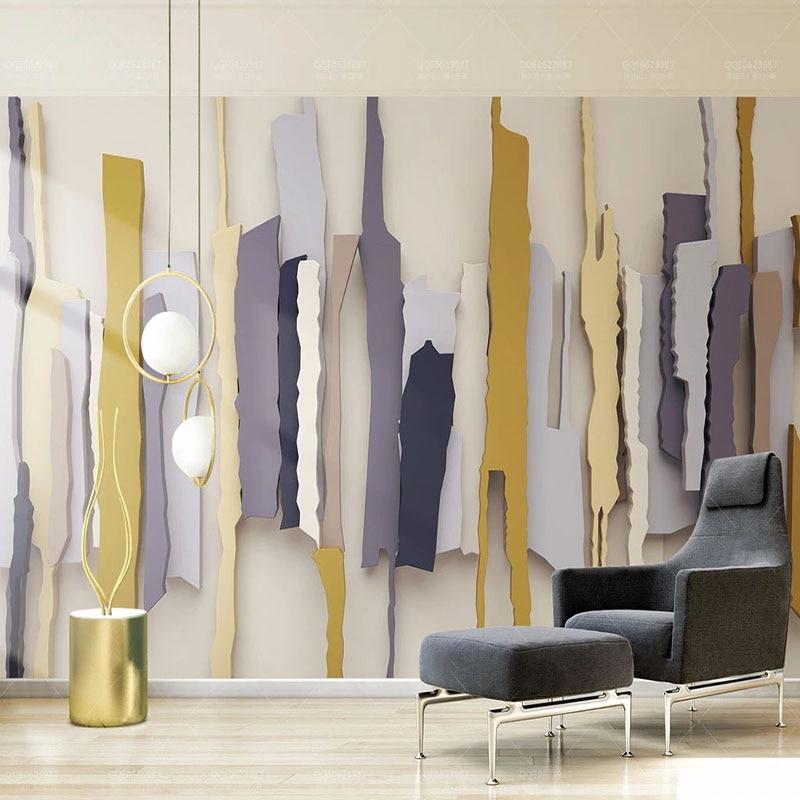 Custom 3D Wallpaper Modern 3D Stereo Retro Polygon Stripe Irregular Murals Living Room Bedroom Creative Background Wall Painting
