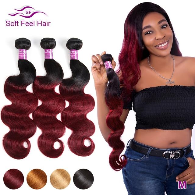 Macio sentir o cabelo 1/3/4 pçs ombre onda do corpo brasileiro pacotes 1b/borgonha ombre feixes de cabelo tecer 99j remy vermelho extensão do cabelo humano