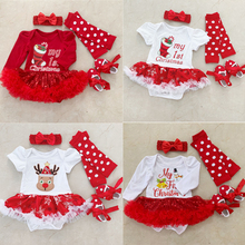 First Christmas Costume Girls Dress Sets Tutu Lace Xmas Party Dress+Headbands+Leggings+Shoes 4PCS Outfits Infant Clothing Set rose skirt sets for girl clothing body pink bodysuit with ruffle tutu dress infant clothing summer seaside holiday 4pcs set