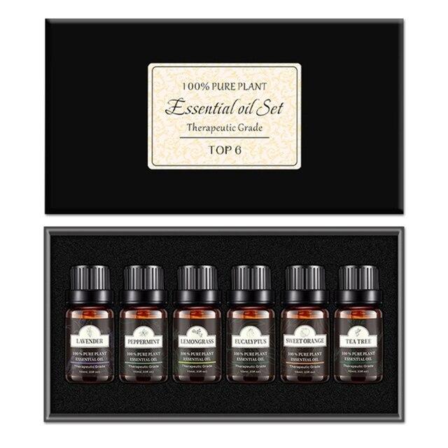 3/6/8 bouteille/boîte 10ml aromathérapie Pure huile essentielle ensemble diffuseur darôme menthe poivrée huile végétale parfumée corps huile de Massage