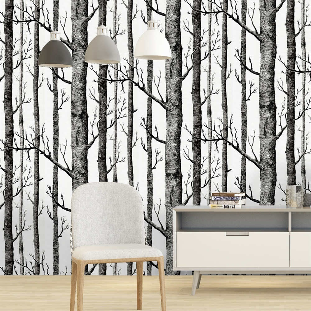 HaoHome Birch Tree Peel And Stick Wallpaper Black And White Wood Wall Covering for Wall Kitchen Cabinet Furniture Shelf Liner