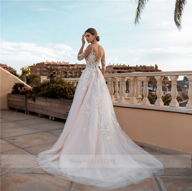 Sheer 3/4 Sleeves See Through Floral Applique Blush Wedding Dress Sexy Illusion Lace Wedding Dresses 2