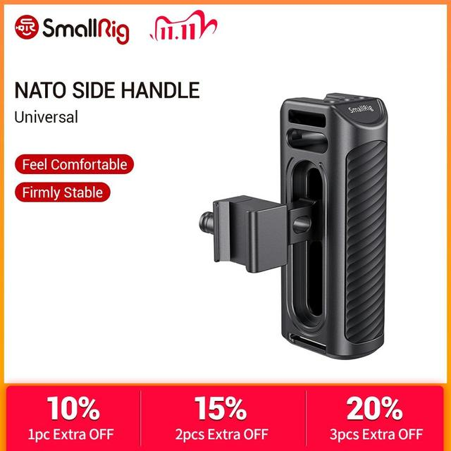 SmallRig Aluminum NATO Side Handle For Universal Camera Cage Featuring Nato Rail On The Side DSLR Camera Handle Handgrip  2427