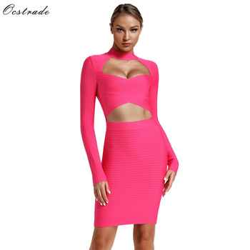 Ocstrade Vestidos Bandage Dress 2019 Women New Fashion Hot Pink Bandage Dress Sexy Cut Out Club Party Long Sleeve Bodycon Dress - DISCOUNT ITEM  38% OFF All Category