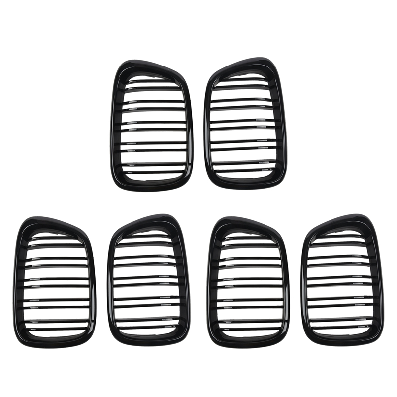 6X Glossy Black Front Hood Kidney Grille Grill ABS Dual Line Compatible For BMW E39 5-Series 525 528 1995-2004