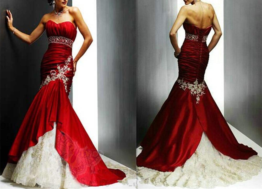Cheap Red And White Wedding Dresses Sweetheart Appliques Vestido De Noiva Longo Appliques Wedding Dress Red And White 2019