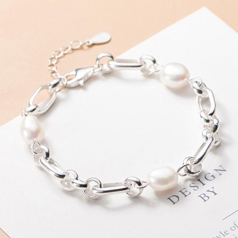 Trustdavis Luxury 925 Sterling Silver Sweet 8mm Baroque Pearl Chain Bracelet For Women Wedding Birthday Fine S925 Jewelry DA1653