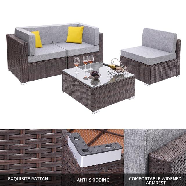 4 Pieces Patio PE Wicker Rattan Corner Comfortable Breathable Sofa Set For Home Living Room Bedroom Decoration 1