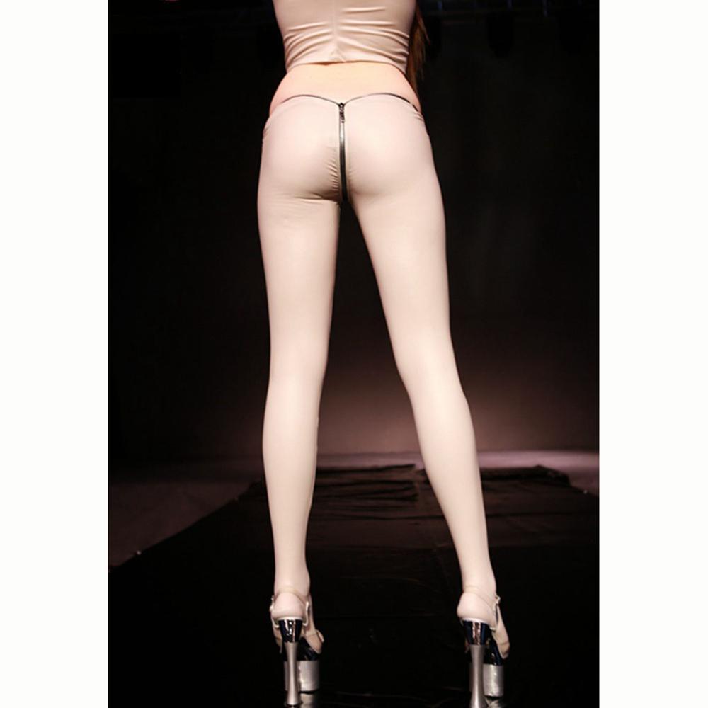 S-XXL Plus Size Oil Glossy Latex Pants Women Zipper Crotch Hot Sexy Cuero PU Leather Trousers Pantyhose Clubwear Legging Capris