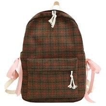Small backpack women canvas Shoulder Bag 2019 Female Fresh Plaid Bow Student Backpack  female School bag for teenage grils 9.2 цена 2017