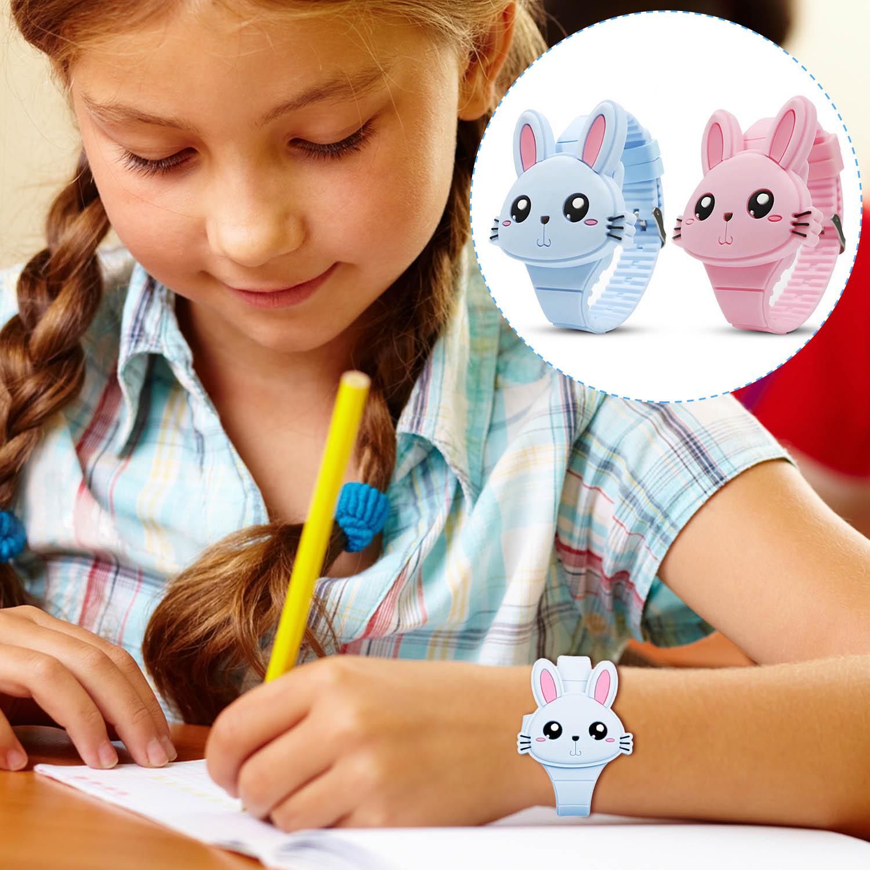 Kids Children Cute Cartoon Rabbit Shape Flip-Cover Silicone LED Digital Watch For Boys Girls Birthday Christmas New Year Gift