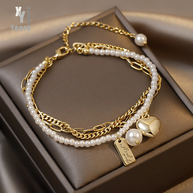 Super Value Multi Layer Pearl Heart Folded Bracelets Korean Fashion Jewelry Party Girl's Elegant Wrist Accessories For Woman