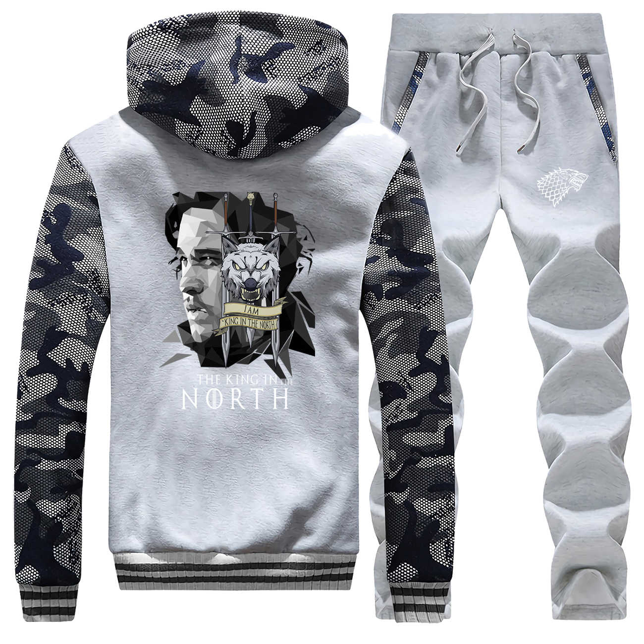 Game Of Thrones Camo Jassen Set De Koning In Het Noorden Sweatsuit Mannen Jon Sneeuw Sets Mode Huis Stark Broek fleece Sweatshirts