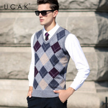 UCAK Brand Men Sweater Vest 2019 New Arrival Autumn WInter Warm Pure Merion Wool Pull Homme Casual Clothing Sweaters Male U3105