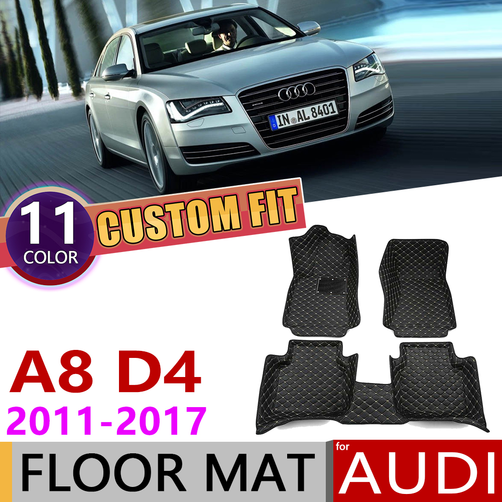 Custom Car Leather Floor Mats for <font><b>Audi</b></font> <font><b>A8</b></font> W12 6.3 D4 <font><b>4H</b></font> 2011~2017 4 Seats Foot Pad Carpet Accessories 2012 2013 2014 2015 2016 image