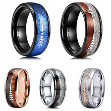 FDLK     8mm Rose Gold Stainless Steel Tungsten Carbide Rings Hawaiian Koa Wood Arrow Inlay Men's Jewelry tailor made luxury western rose gold color inlay health surgical stainless steel wedding bands rings sets