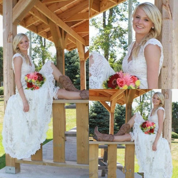 Tea Length Wedding Dresses 2019 Vintage Lace V Neck Cap Sleeve Country Western Cheap Designer Modest Bridal Gown wedding dress