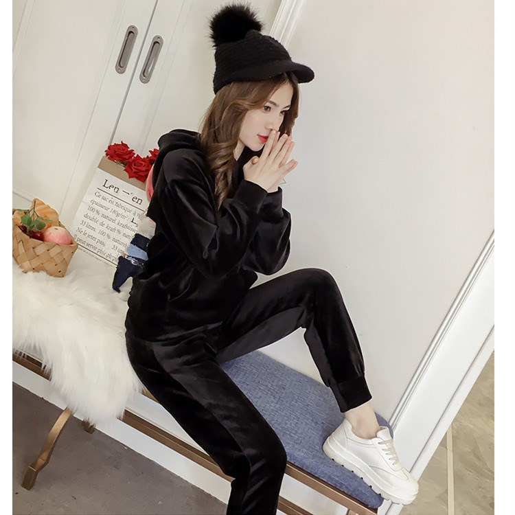 Nice Autumn Solid Velvet Tracksui Two Piece Set Women Sexy Hooded Grey Long Sleeve Top And Pants Suit