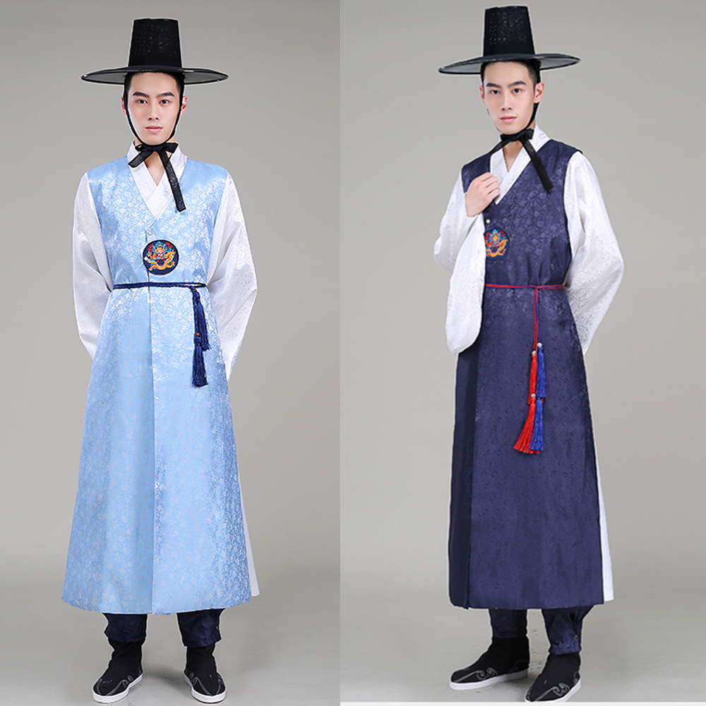Men'S Korean Clothing Korean Performance Costumes Wedding Hanbok Dress Traditional Costume Robes Minority Dance Costumes SL1571