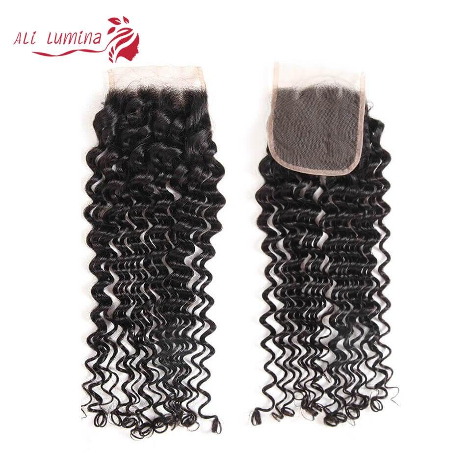 4x4 Lace Closure 100%  Closure Sample    Hair Deep Wave Frontal Closure 8 Inches Short Hair 1